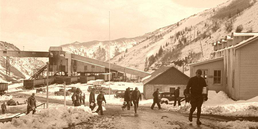 Miners coming home from work at the Blue Blaze Mine in Consumers, Utah by Dorthea Lange, 1936.