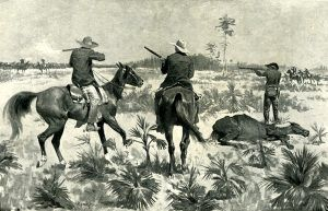Cracker cowboys fighting over a stolen herd by Frederic Remington, 1895