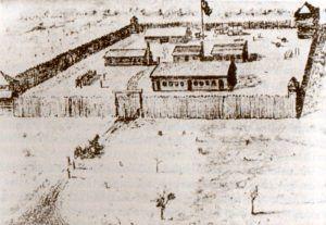 Old drawing of Fort Fraser, Florida