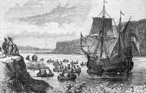 The Half Moon vessell of Henry Hudson on the Hudson River in 1609