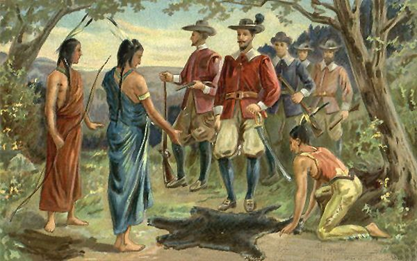 Hudson Trading With Indians On Manhattan Island