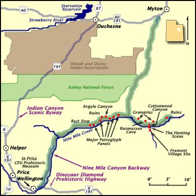Nine Mile Canyon, Utah Map
