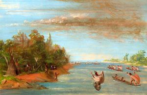 Sac and Fox Indians Canoes by George Catlin