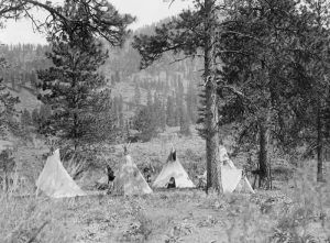 Spokane camp by Edward S. Curtis, about 1910