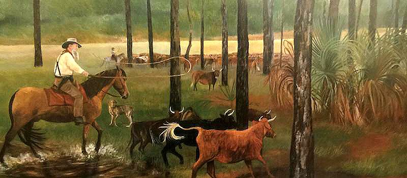 Cracker Cow Hunt, by Casper McCloud, 1993, courtesy Florida Historical Society