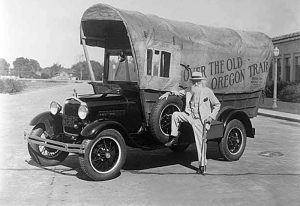 Ezra Meeker and a converted Model A Ford which we planned to use for his 1928 trip before his death.