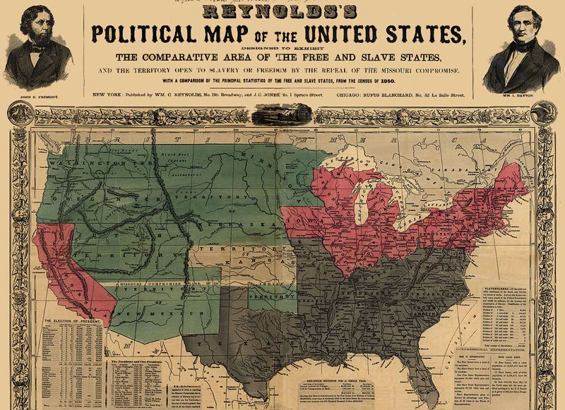 1856 map showing slave states in gray, free states in pink, U.S. territories in green, and Kansas in white.