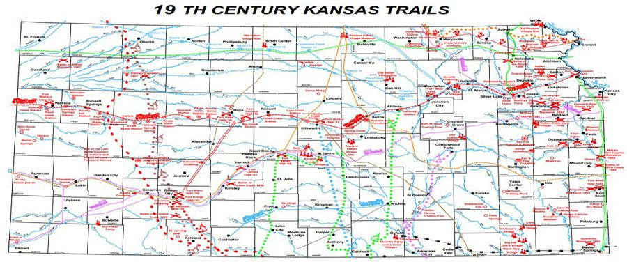 Map Of America Kansas.Frontier Trails Of Kansas Legends Of America