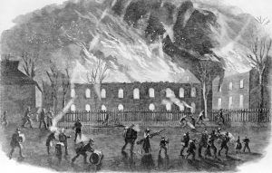 Burning of the Arsenal at Harpers Ferry during the Civil War by David H. Strother, 1861