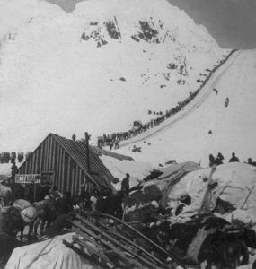 Bound for the Klondike Gold Fields, Chilcoot Pass, Alaska, 1898