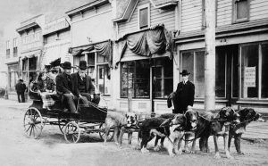 Captain William Moore and Harriet Pullen in a Dog Wagon, Skagway, Alaska