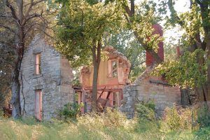 Ruins of a stone building at Diamond Springs, Kansas by Kathy Weiser-Alexander.