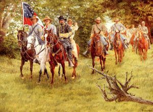 Confederate General Nathan Forrest pursues Union Colonel Abel Streight, by Clyde Heron