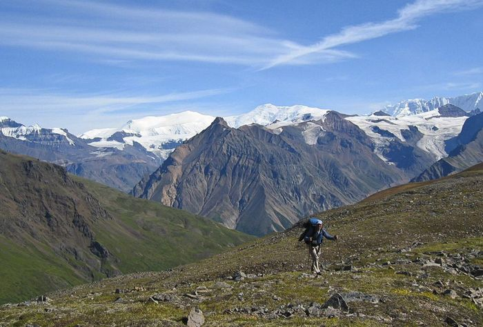Hiker at Wrangell-St. Elias National Park