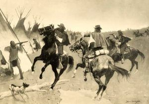 Lame Deer Fight, Montana by Frederic Remington, 1896.