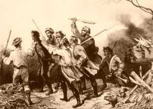 Rebels tarring and feathering a tax collector in western Pennsylvania during the Whiskey Rebellion