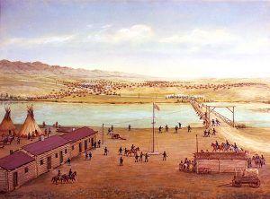 Platte Bridge Station, Casper, Wyoming by William Henry Jackson