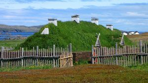Recreated Norse long house, L'Anse aux Meadows, Newfoundland, Canada courtesy Wikipedia