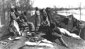 Black Refugees on Levee, 1897