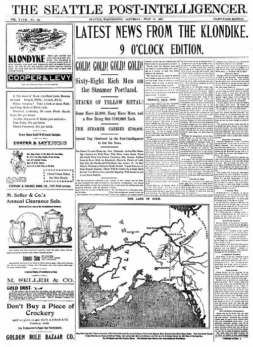Seattle newspaper announcing the first arrival of gold from Klondike, July 17, 1897