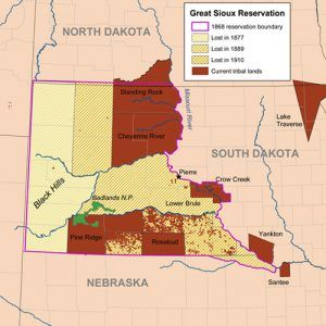 Sioux Reservation Map, courtesy Wikipedia