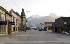 Broadway Street in Skagway, Alaska by the National Park Service