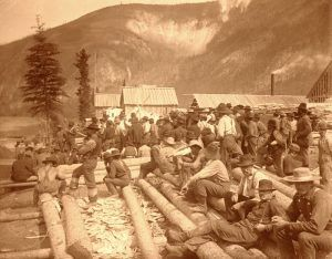 Waiting for the steamer at Dawson City, 1897