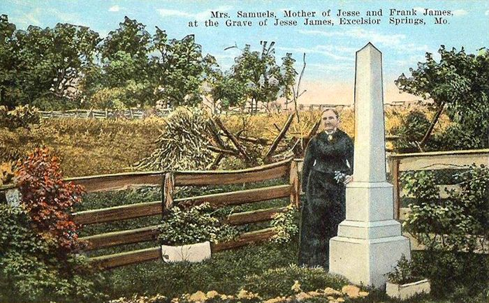 Jesse James' mother Zerelda, at his grave on the James Farm