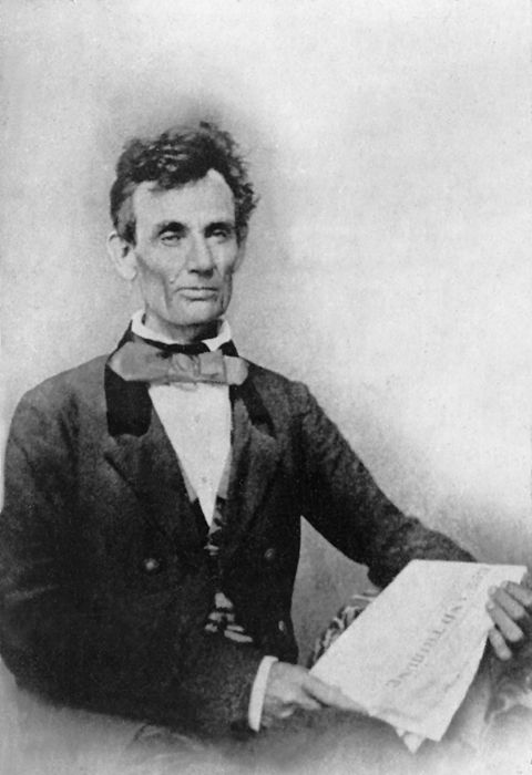 Abraham Lincoln while campaigning for the U.S. Senate, Chicago, Illinois