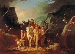 Daniel Boone escorting settlers through the Cumberland Gap byGeorge Bingham
