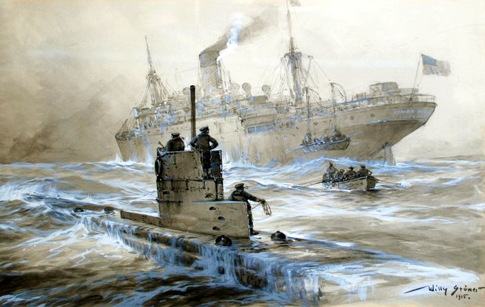 The German Navy attacks the Linda Blanche of Liverpool by Willy Stower
