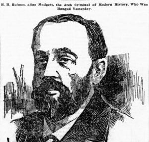 Newspaper clipping the day after H.H. Holmes was hanged