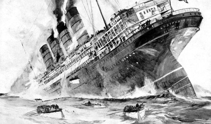 The sinking of British ocean liner Lusitania