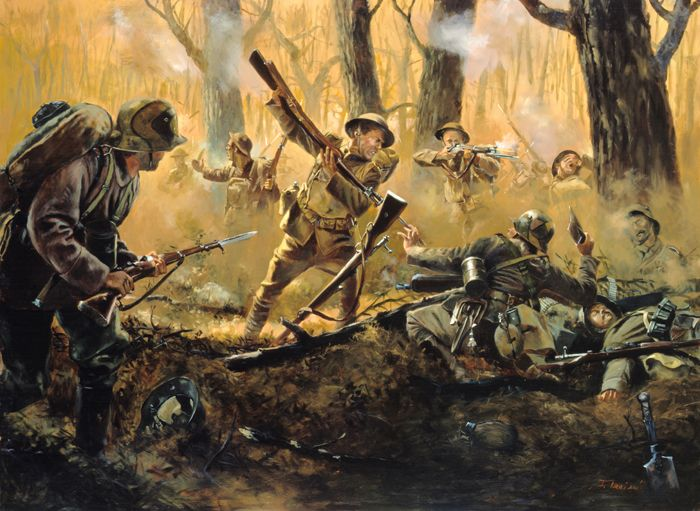 American soldiers at Courthiezy, France, July 15, 1918 by Don Troiqani, National Guard Series