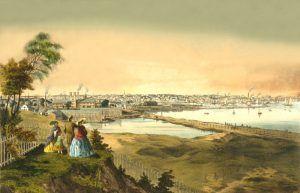 Harbor View at Providence, Rhode Island, by John B. Bachelder, 1858