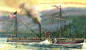 Robert Fulton'sSteamboat on the Hudson River