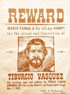 Tiburcio Vasquez Wanted Poster