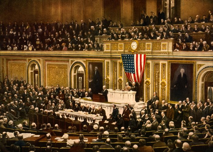 President Woodrow Wilson asks Congress to Declare War on Germany, 1917