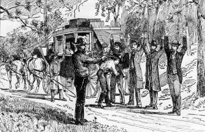 Jesse James and Bill Ryan Robbing a Stagecoach