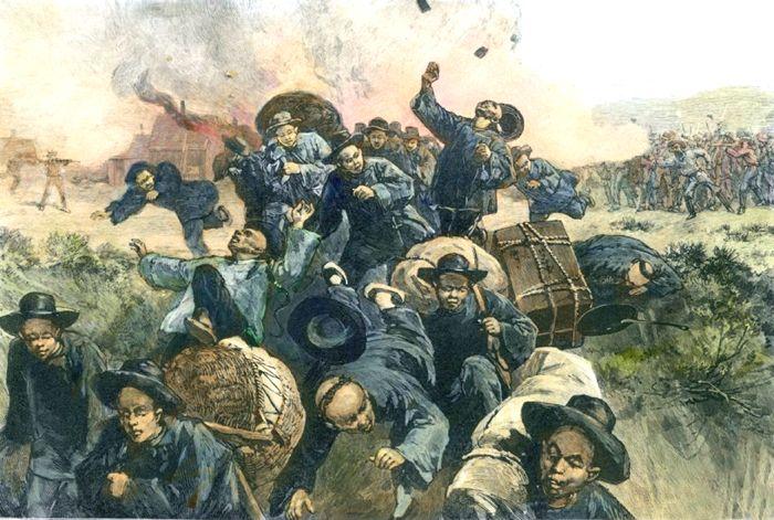 Rock Springs Massacre, Wyoming by Harper's Weekly