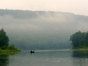 A foggy morning on the Delaware National Scenic and Recreational River by the National Park Service