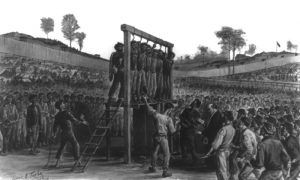 "Execution of the ""Raiders"" at Andersonville, Georgia Prison by J.E. Taylor"
