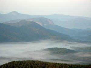 Blue Mountains in the fog, Blue Ridge Parkway by Bill Bake, National Park Service