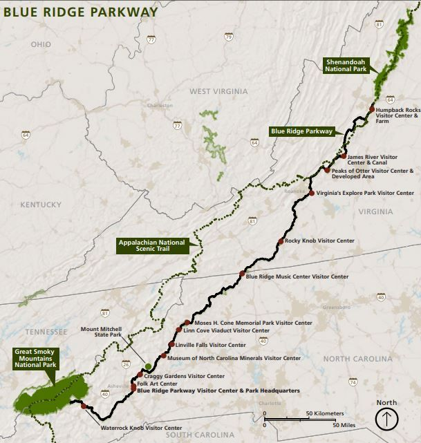 Blue Ridge Parkway Map, courtesy National Park Service