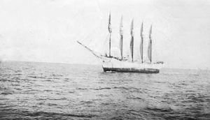 Schooner Carroll A. Deering, as seen from the Cape Lookout lightship on January 28, 1921 by the US Coast Guard