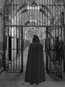 Cloaked Figure at the Eastern State Penitentiary - Composite Image