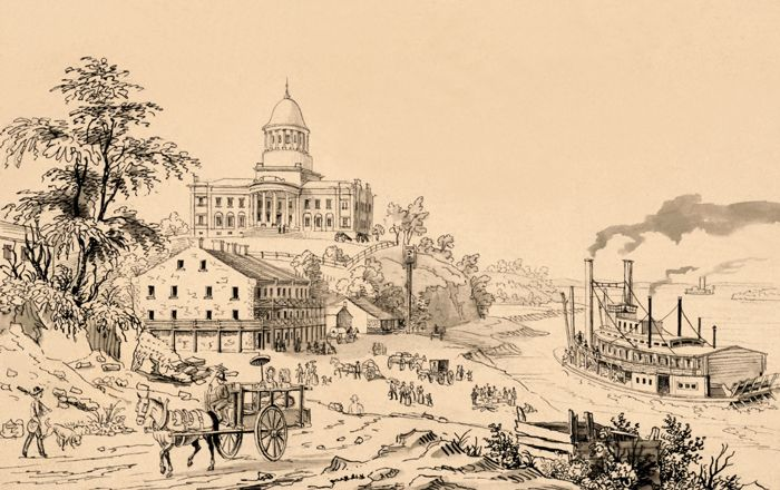 Jefferson City, Missouri by Edward Sachse about 1845