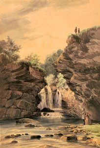 Marshall Falls near the Delaware Water Gap in Pennsylvania by James F. Queen 1856