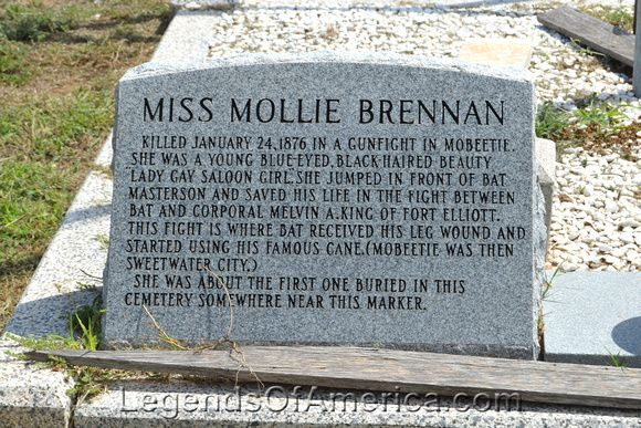 Marker in Mobeetie Cemetery for Mollie Brennan. Photo by Dave Alexander.