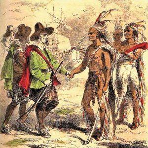 The Wampanoag tribe members welcome the Pilgrims